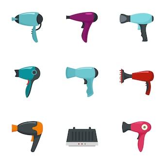Conjunto de iconos de secador