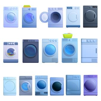 Conjunto de iconos de secadora, estilo de dibujos animados