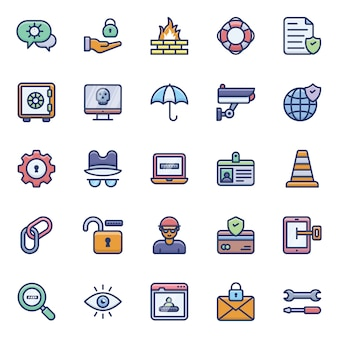 Conjunto de iconos de seguridad cibernética