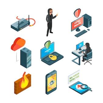 Conjunto de iconos de seguridad de internet