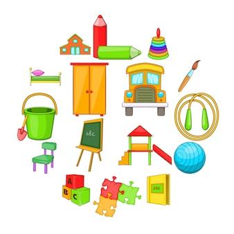 Conjunto de iconos de seguridad jardín de infantes, estilo de dibujos animados