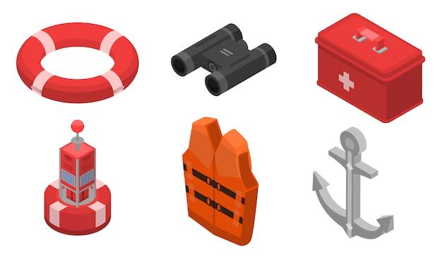 Conjunto de iconos de seguridad marítima, estilo isométrico.
