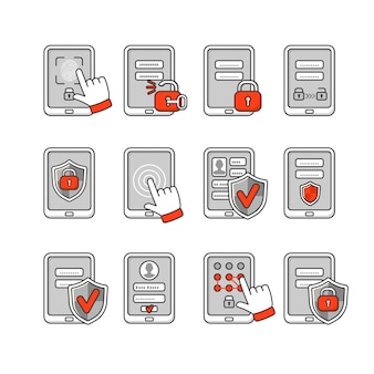 Conjunto de iconos de seguridad móvil. concepto de seguridad de teléfono inteligente. clave de contraseña y bloqueo en el teléfono inteligente. señales para proteger el teléfono.