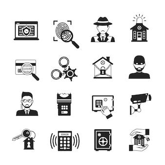 Conjunto de iconos de seguridad negro