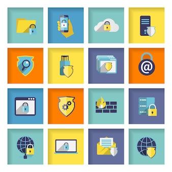Conjunto de iconos de seguridad de tecnología de información