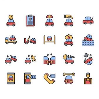 Conjunto de iconos de seguro de automóvil
