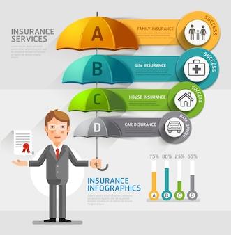 Conjunto de iconos de seguro paraguas