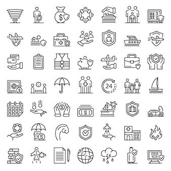Conjunto de iconos de seguro de viaje familiar, estilo de contorno