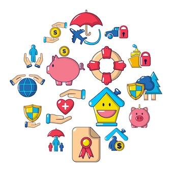 Conjunto de iconos de seguros, estilo de dibujos animados