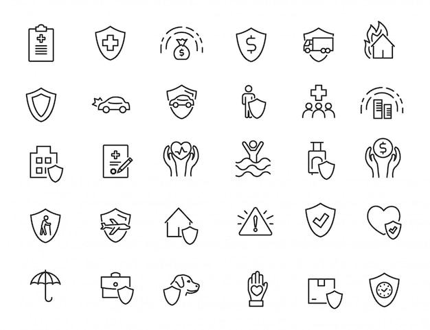 Conjunto de iconos de seguros lineales iconos de protección financiera