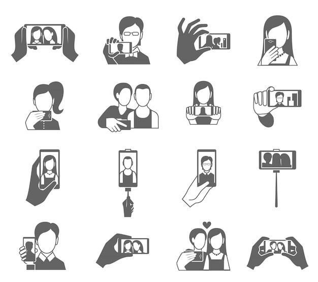 Conjunto de iconos selfie