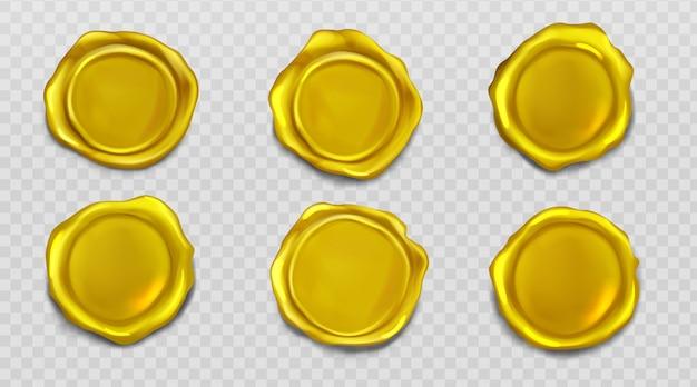Conjunto de iconos de sellado de aprobación de sello de cera dorada