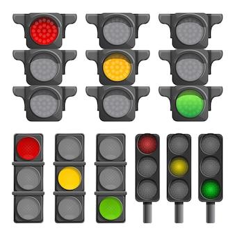 Conjunto de iconos de semáforos, estilo de dibujos animados