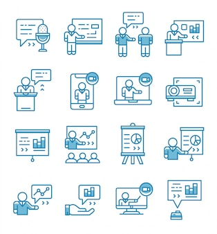 Conjunto de iconos de seminarios de presentación con estilo de contorno