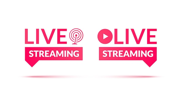 Conjunto de iconos de seminarios web en vivo y transmisión en vivo