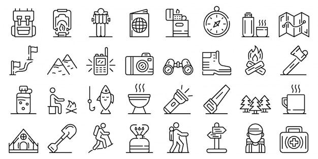 Conjunto de iconos de senderismo, estilo de contorno