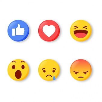 Conjunto de iconos de sentimiento emoji moderno. reacciones de los medios sociales aisladas sobre fondo blanco. Vector Premium