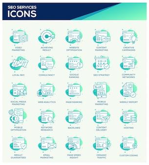 Conjunto de iconos de seo de oficina