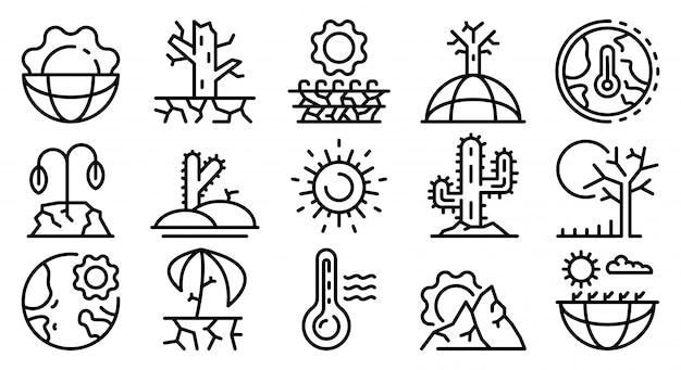 Conjunto de iconos de sequía, estilo de contorno