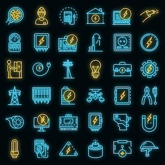 Conjunto de iconos de servicio de electricista. esquema conjunto de iconos de vector de servicio de electricista color neón en negro