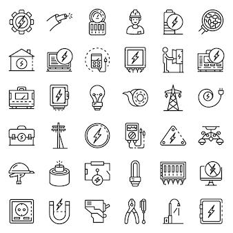 Conjunto de iconos de servicio electricista, estilo de contorno