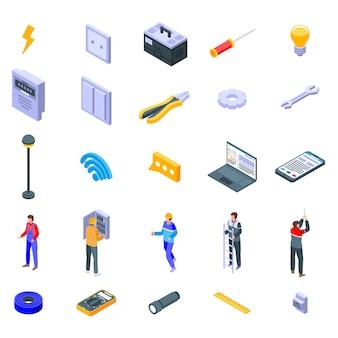 Conjunto de iconos de servicio electricista, estilo isométrico