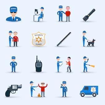 Conjunto de iconos de servicio de guardia de seguridad
