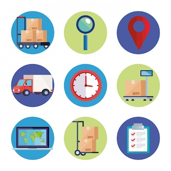 Conjunto de iconos de servicio logístico de entrega