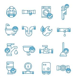 Conjunto de iconos de servicio de plomería con estilo de contorno