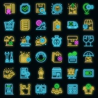 Conjunto de iconos de servicio postventa. esquema conjunto de iconos de vector de servicio postventa color neón en negro