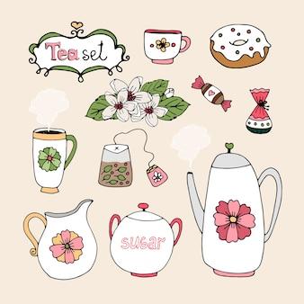 Conjunto de iconos de servicio de té con taza tetera