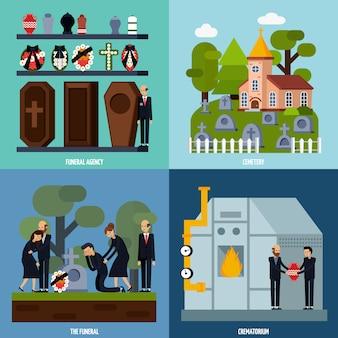 Conjunto de iconos de servicios funerarios