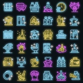 Conjunto de iconos de servicios de limpieza. esquema conjunto de iconos de vector de servicios de limpieza color neón en negro