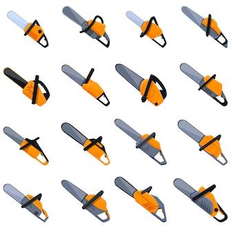 Conjunto de iconos de sierra eléctrica. iconos de sierra eléctrica