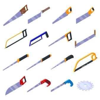 Conjunto de iconos de sierra, estilo isométrico