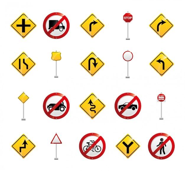 Conjunto de iconos de signo de carretera aislado