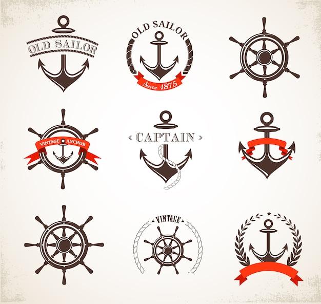 Conjunto de iconos, signos y símbolos náuticos vintage
