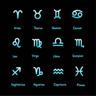 Conjunto de iconos de signos del zodíaco. aries, tauro, géminis, cáncer, leo, virgo, libra, escorpio, sagitario, acuario, capricornio, piscis. ilustración de vector de estilo de línea de dibujos animados.