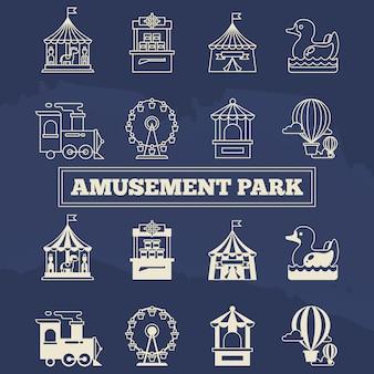 Conjunto de iconos de silhoette y línea delgada de luna park