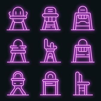 Conjunto de iconos de silla de alimentación. esquema conjunto de iconos de vector de silla de alimentación color neón en negro