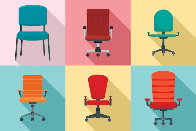 Conjunto de iconos de silla de escritorio, estilo plano