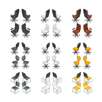 Conjunto de iconos de silla de oficina