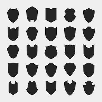 Conjunto de iconos de silueta de escudo