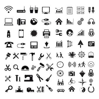 Conjunto de iconos de silueta de internet