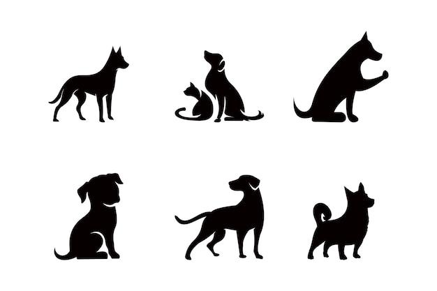 Conjunto de iconos de silueta de perro