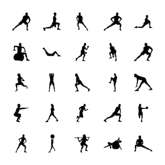 Conjunto de iconos de siluetas deportivas