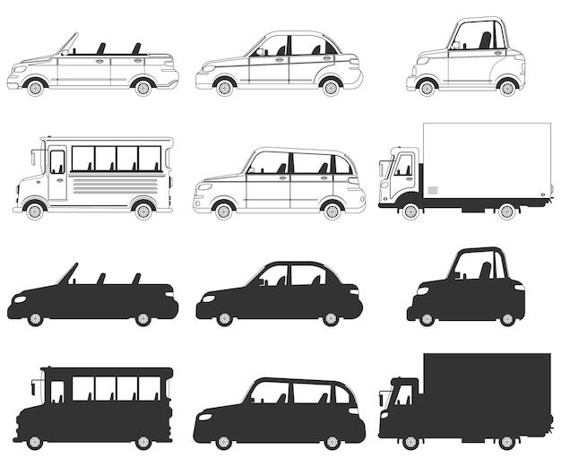 Conjunto de iconos de siluetas negras de coche, camión y autobús aislado en un fondo blanco.