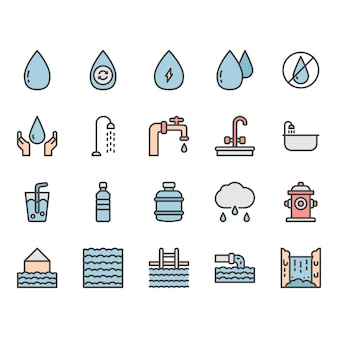 Conjunto de iconos y símbolos de agua