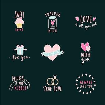 Conjunto de iconos de símbolos de amor vector
