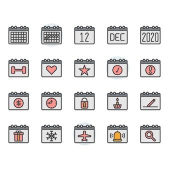 Conjunto de iconos y símbolos de calendario